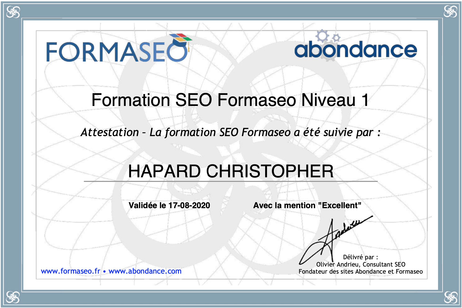 Certification Formaseo Christopher Hapard